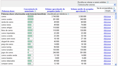 Tela do Google Adwords Keyword Tool