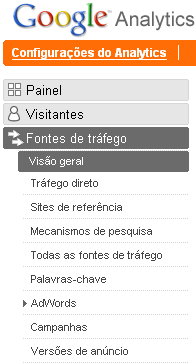 Localização do Menu das Fontes de Trafego do Google Analytics