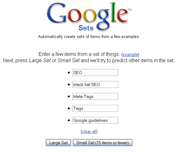 Google Sets - analisador de keywords