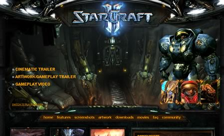 Site do Starcraft em HTML