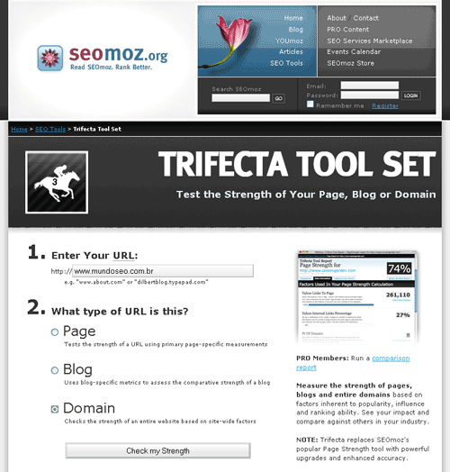 Interface trifecta - ferramenta SEO do seomoz