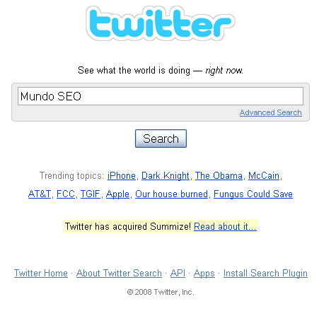 Interface twitter search - analisador de keywords da twitter