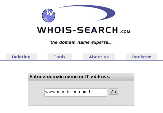 Interface whois-search - verificador de disponibilidade de domínio