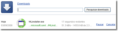 Aba dos Downloads do Google Chrome